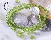 Peridot Chip Double Strand Bracelet,Raw quartz ,Natural peridot beaded bracelet,Silver,Healing stackable gemstone bracelet,August birthstone