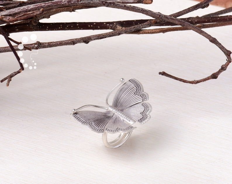 Large Silver Butterfly Ring,Dainty Stacking Butterfly,Band Ring,Adjustable,Solid 925 silver Butterfly Jewelry,Statement Ring,Gift for her