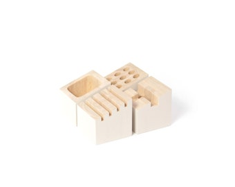 Office storage modules with card holder, pencil holder and telephone holder in rubberwood and white color