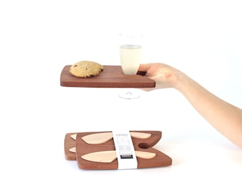 Wooden board with spatulas for aperitif buffet, cocktail dinner, brunch or seminar