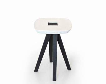Stool, pedestal table or end of sofa in burnt wood and concrete with interlocking assembly without tools