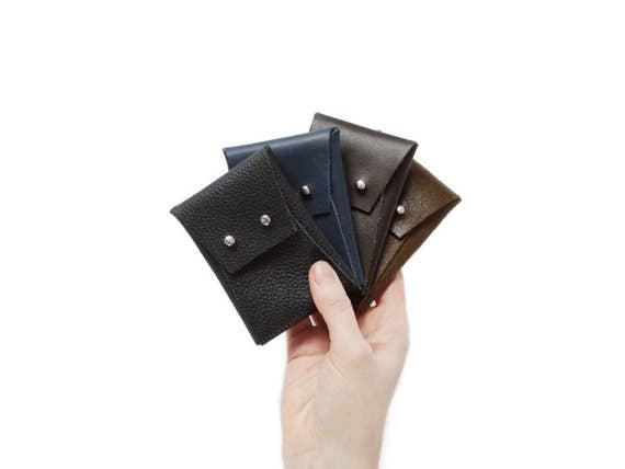 5c5692b617 Minimalista di cuoio caso portafoglio busta carta | Etsy