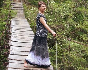Felt skirt Winter Forest. Long black and white felt skirt genuine ethnic boho elegant warm elegant fashionable