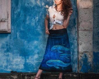 """Felt skirt """"Deep Ocean"""", Felted skirt, wool skirt, warm skirt long skirt, for woman, wool, natural, art, boho, tribal,"""
