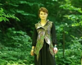 "Felt west ""Wild Lavander"", tribal vest, woman vest, boho, elf, fairy, mori, forest vest"