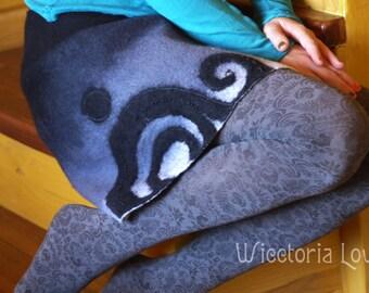 Felt ethno boho mini skirt  for woman boho dress for her tribal felted black and white grey