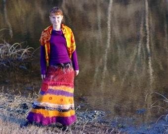 Woman colorful cozy ecofriendly boho long colorful ethnic warm beautiful elegant  felt skirt  wool silk handmade