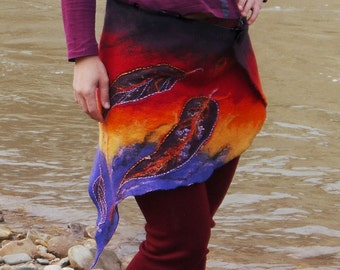 Nuno Felted Vintage Feather Rainbow Skirt - Doily Tattered Fairy Pixie Belt- Wedding Skirt-Fairy Belt-Fantasy Costume-Vintage Doily Belt