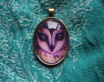 Owl pendant necklace, gift, boho purple, tribal natur print, Tawny Owl Necklace, Owl Jewellery, Owl Gift For Her, Woodland Owl