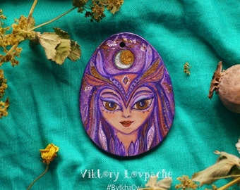 Owl's pendant is a goddess, Gift for Her, Tribal Boho Pendant Owl Owl Ethnic Hippie, Native American, Pottery Painting, Purple Owl,