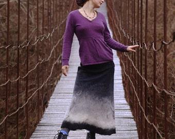 Long black and white felt skirt genuine ethnic boho elegant warm elegant fashionable