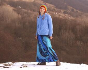 """Felt skirt """"Deep Ocean"""", Felted skirt, wool skirt, warm skirt long skirt, for woman, wool, natural, art, boho, tribal"""