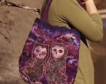 """Felt bag """"Wild Owls"""", boho, natural, bag for her, gift, tribal, wool, elegant, wild canvas bag"""