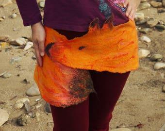 Felt skirt Fox, Felted Wool, Orange, Vintage Belt-Lace Skirt-Doily Tattered Fairy Pixie Belt- Fox Skirt-Fairy Belt-Fantasy Costume-Vintage