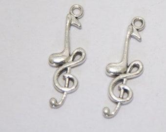 5 Pcs. charm/ metal pendant Clef / antique silver tone A168