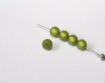 Oliven 9x6mm 5 Stück #PU41 Beige matt Polaris Perlen