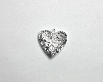 10 Versilbert Herz Foto Medaillon Fassung Anhänger 26x26mm
