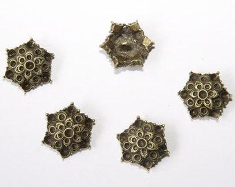 5 Piece metal buttons 23x26mm ornament color: bronze MK009