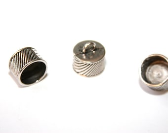 4 Pcs.  Large end caps/ 11x16mm /  Ø 14 mm / antique silver tone EK15