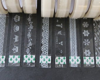 5 rolls with each 9m Masking Tape / different designs / decoration tape / color: transparent, white / size - 15mmx9m MT-Mix02