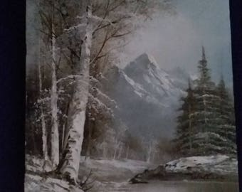 Winter Mountain Scene Oil Painting Signed Wallace