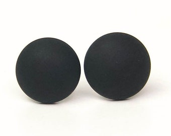 Stud earrings with black Polaris pearl - stainless steel - gift idea Just Trisha