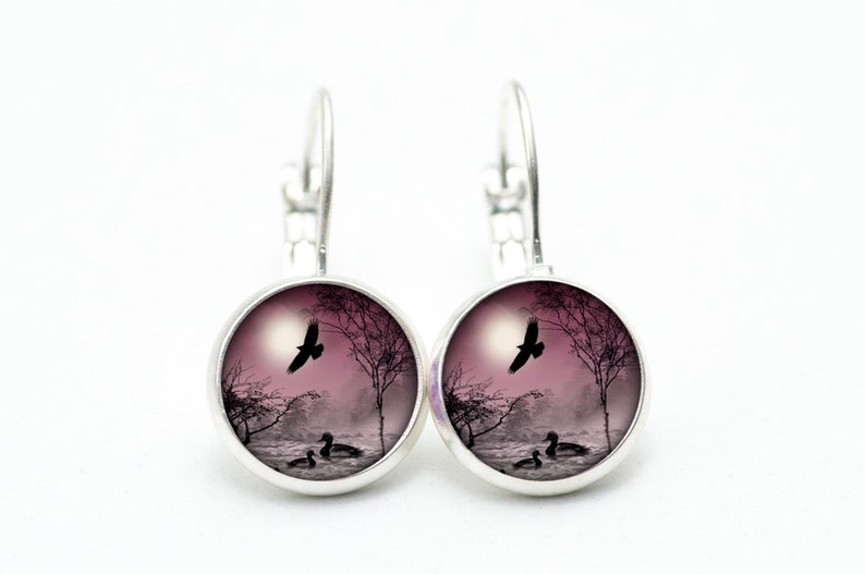 Set necklace with earrings ducks by the lake