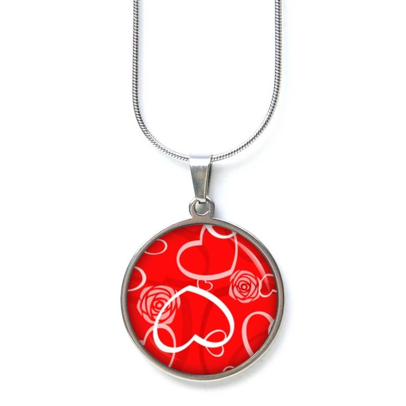 Stainless steel chain heart hearts Valentine/'s Day love red gift idea from Just Trisha