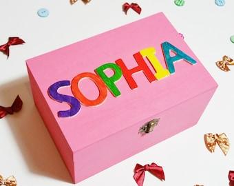 Personalised Childrens Box - Wooden Keepsake Box - Memory Box - Girl Gift - Boy Gift - Baby Shower - Christening - Birthday - 1st Birthday