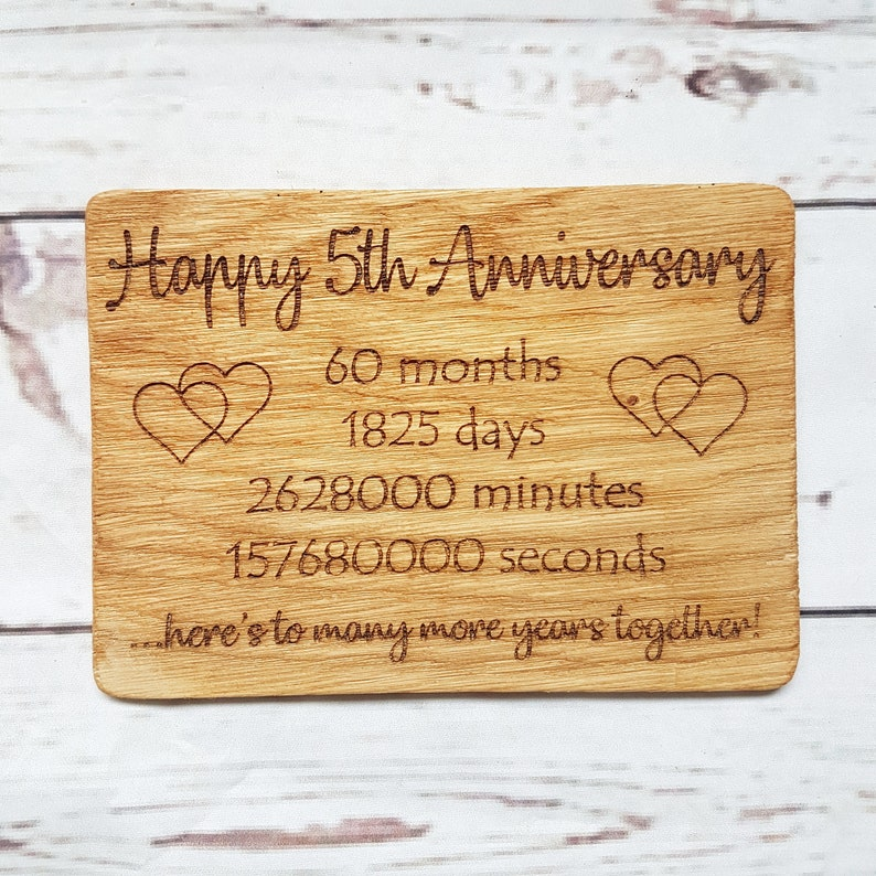 Personalised 5th Anniversary Card Engraved Oak Wood Anniversary Gift