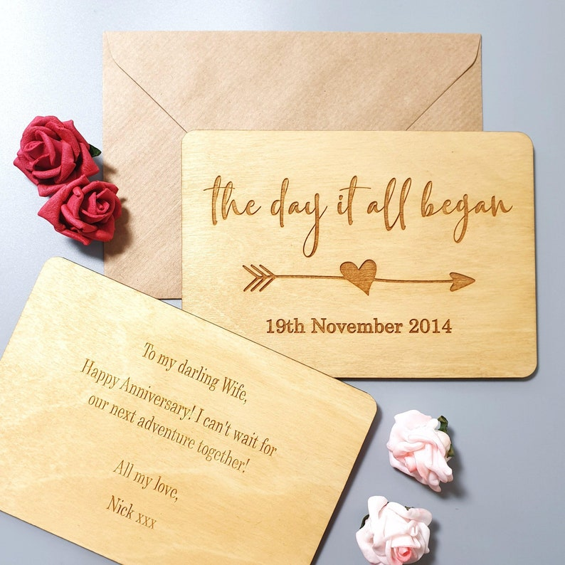 Engraved Date Wooden Anniversary Gift Personalised Wedding Anniversary Card Anniversary Card for Wife Husband 5th Anniversary present