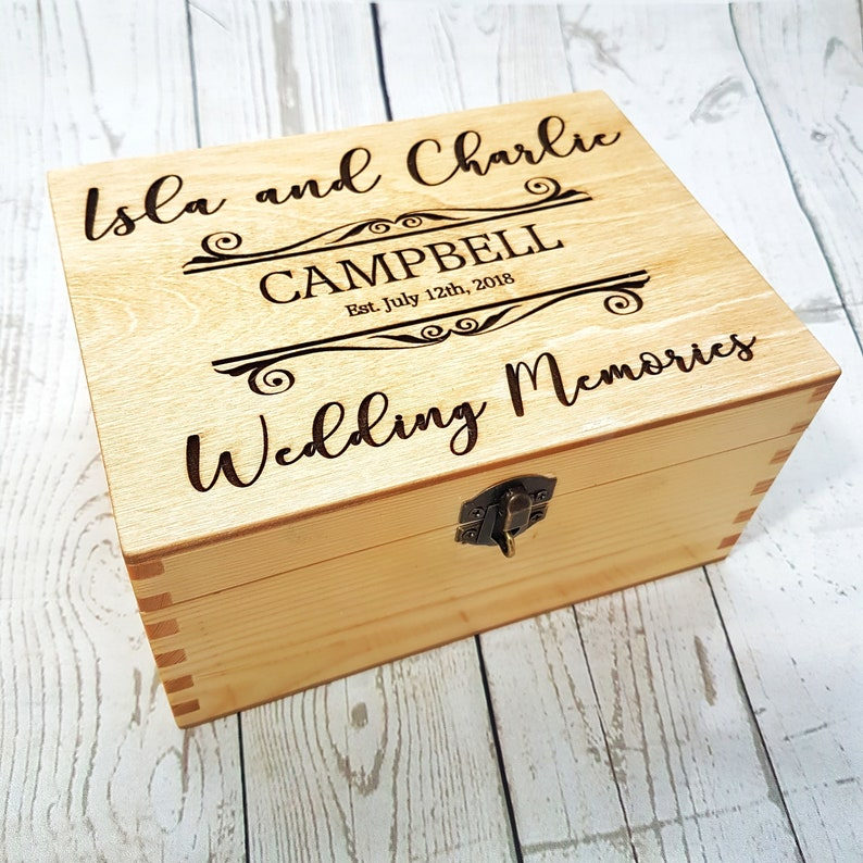 Engraved Wedding Keepsake Box Personalised Memory Box Pine Wood Box With Lock Family Established Gift Bride Groom Present Gift