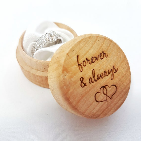 Forever And Always Wedding Ring Box Bride Ring Round Etsy