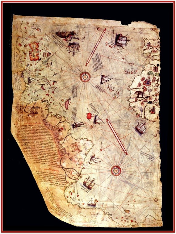 Piri Reis Map 1st map to show Americas /& Antarctica 24 X 36 High Gloss Poster