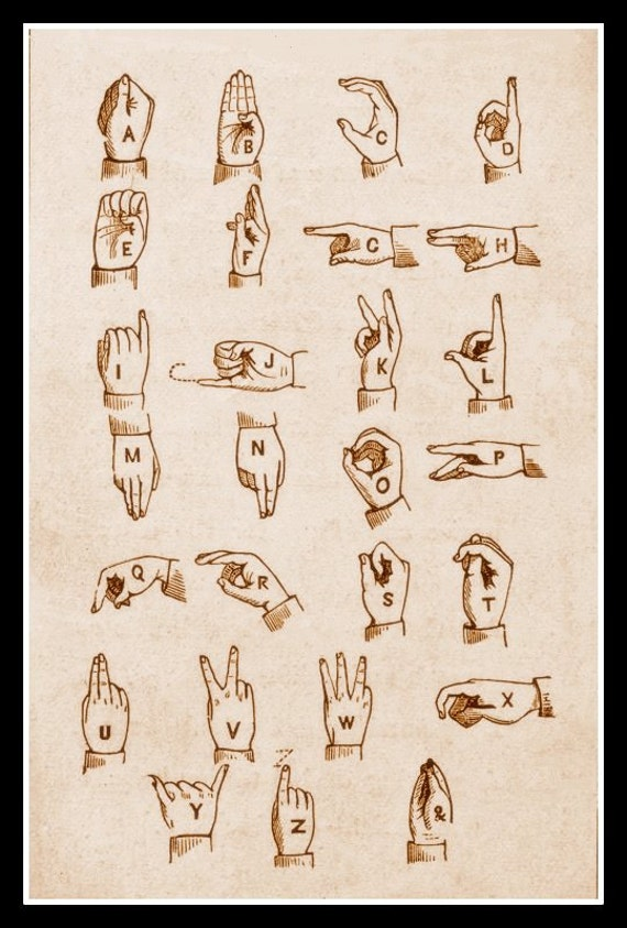 picture about Printable Sign Language Chart known as Artwork Print Indicator Language Chart 1800s - Print 8 x 10