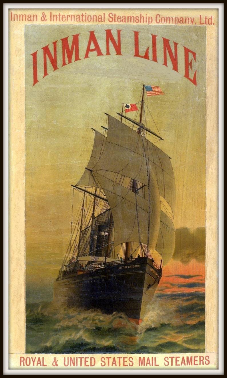 Art Print Inman Line New York Liverpool Travel 1890 Poster