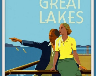 Art Print The Great Lakes Travel Poster Print - 1950s