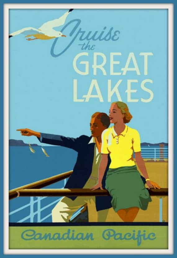 VINTAGE GREAT LAKES FLYING BOAT CRUISE TRAVEL AD POSTER ART REAL CANVAS PRINT