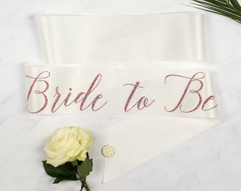Rose Gold Print Script 'Bride to Be' Hen Party Sash, on trend ribbon colour, with polka dot badge - Bridal Shower / Hens / Bachelorette