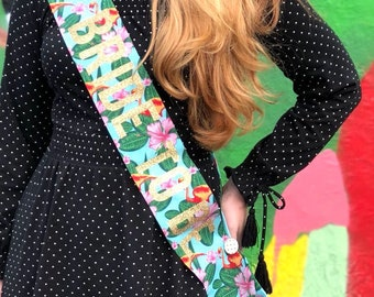 LIMITED EDITION Palm Springs Tropical Flamingo & Leaf Hen Party Sash - Palm Print - Hen Do - Bridal Shower