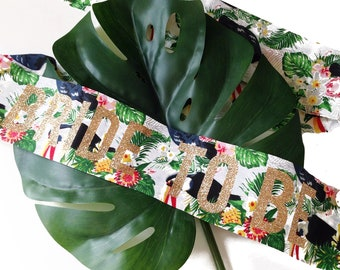 LIMITED EDITION Palm Springs Toucan & Leaf Hen Party Sash - Palm Print - Hen Do - Bridal Shower
