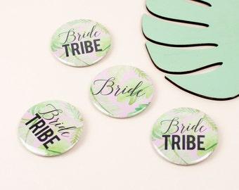 Palm Print 'Bride Tribe' Hen Party Badges - Bachelorette Party, Hen Do - Non tacky hen accessories - Modern