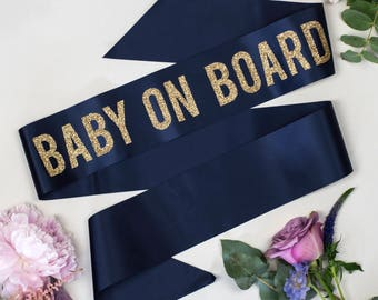 Glitter Print Bold 'Baby on Board' Baby Shower Sash, in 4 on trend ribbon colours, with gold polka dot badge