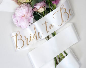 Black or Ivory 'Bride to Be' Hen Party Sash, on trend ribbon colour, with gold polka dot badge - Bridal Shower / Hens / Bachelorette