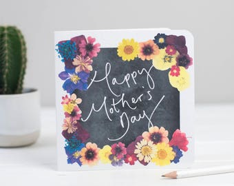 Happy Mother's Day - Chalkboard Floral Hand Lettered Mothering Sunday Card