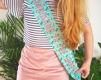 LIMITED EDITION Flamingo Print Tropical Hen Party Sash - Flamingoing to the Chapel - Hen Do - Bridal Shower - Bride Sash - Glitter