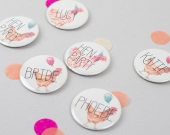Personalised Fun Hen Party Badges - Vintage Style Hen Party Accessories - Bachelorette Hen Do Bridal Shower