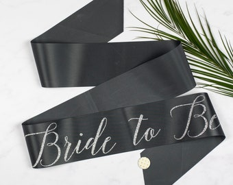 Silver Glitter Print Script 'Bride to Be' Hen Party Sash, on trend ribbon colour, with polka dot badge - Bridal Shower / Hens / Bachelorette