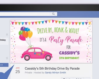 Drive By Parade Facebook Event Cover, Virtual Party, Edit Online + Download Today With Free Corjl.com 1019C