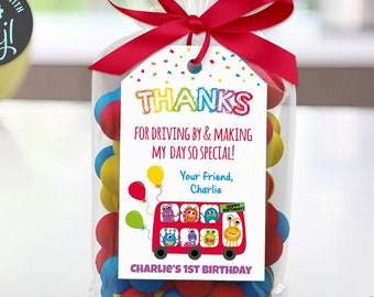 Monster Birthday Thank You Tag, Printable Social Distancing Quarantine Party, Edit Online+Download Today With Free Corjl.com  1030